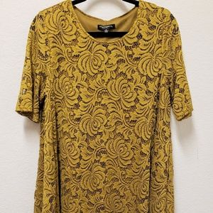 Sharagano Bright Olive Lace Dress size 16